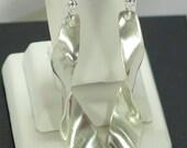 Sterling Silver Long Ribbon Dangle Earrings Free Shipping