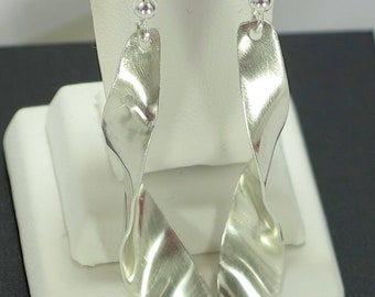 Ribbon Earrings, Bar Earrings, Silver bar Earrings, Long earrings, ecofriendly jewelry, Rustic Earrings, Dangle