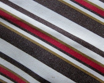 70s fabric ,  vintage canvas,  ticking stripes,  brown mustard red cotton, vintage decor , retro fabric, vintage ticking