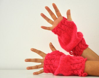 Fingerless Gloves Armwarmers Wrist Warmers Long Hot Pink Fuchsia Warm Unique Autumn Accessories Fall Fashion Gift for Her