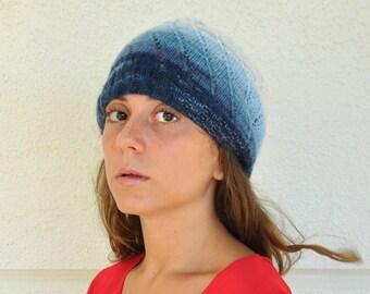 Women Hat Slouchy Hat Beanie Adult Hat Hand Knit White Blue Sapphire Winter Accessories Winter Fashion
