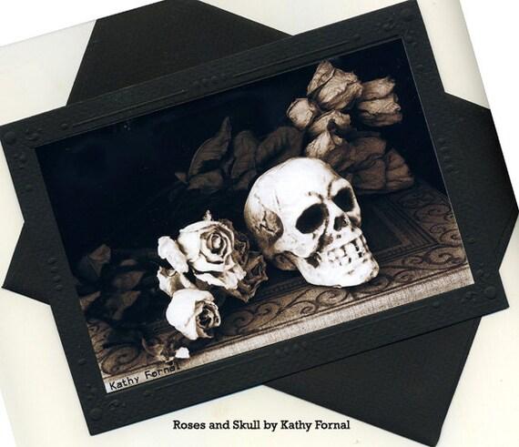 Gothic Skull Note Card, Roses Skull Note Card, Halloween Note Cards, Skull With Roses, Gothic Art Note Cards With Envelope, Skull Note Cards