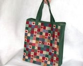 OOAK Handmade Shopping Tote Market Bag - Red and Green Cotton Print