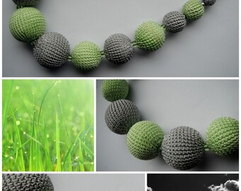 Spring breeze - enjoy hand crocheted necklace in salad green and rainy cloud grey colors