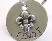 Tiny Sterling Silver Fleur De Lis Pet Tag, Handmade ID Tag For Small Dogs, Puppies & Cats - Cat Tag - Small Pet Tag