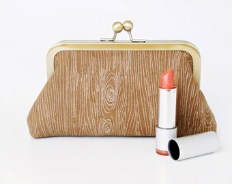 Wood Grain, Cosmetic Bag, Clutch Style, Small Purse, Tampon Case, Christmas Gift