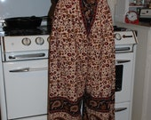 "Hippie pants -Red Large Paisley design- 39"" long - Hips 48"" - one size fits most - - read Measurements"