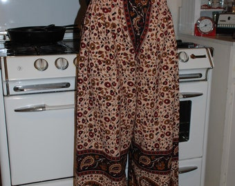 """Hippie pants -Red Large Paisley design- 39"""" long - Hips 48"""" - one size fits most - - read Measurements"""