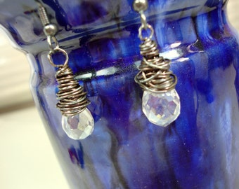 Clear Crystal Earrings, Clear Crystal Wire Wrapped Oxidized Sterling Silver.