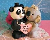 Panda Bear and Koala Bear Wedding Cake Topper Personalized