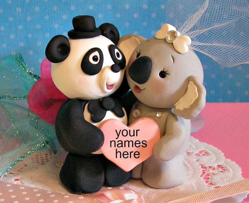 Panda Bear and Koala Bear Wedding Cake Topper by Buttonwilloe Crystal Wedding Cake Toppers