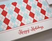 Letterpress Holiday Cards: Argyle Holiday Card