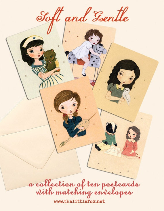 LAST ONE - Postcard Set, Postcard Collection, Set of Postcards, Cute, Pastel, Kids - Soft And Gentle