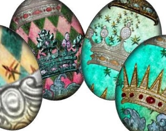 Royal Jeweled Crowns 18x25 mm Ovals Digital Collage Sheet - jewelry cameo pendant cab rings paper supplies - U print 300dpi jpg