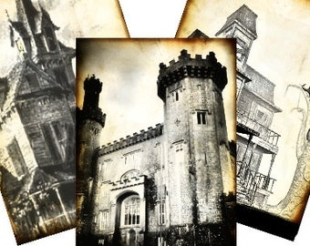 Halloween Haunted Castles & Spooky Houses Digital Collage Sheet - set of 8 tags steampunk greeting cards postcard ATC ACEO - U Print