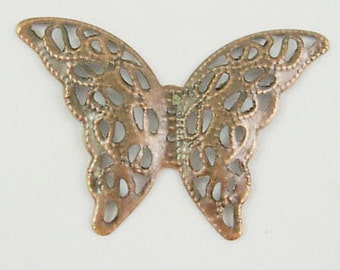 Butterfly Filigree Stamping in Antiqued Copper 100 Pieces E120Y-NFR