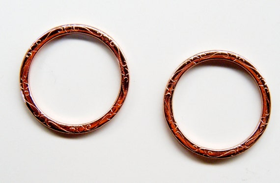 Copper Detailed Ring 3 Bright Rosy Copper Rings BS PC LX019 12 LAST 3 in Stock