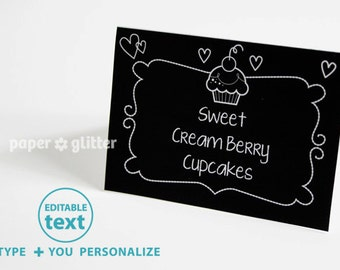 Cupcake Party Cards in Chalkboard Art Poster Paper Printable - Editable Text Printable PDF