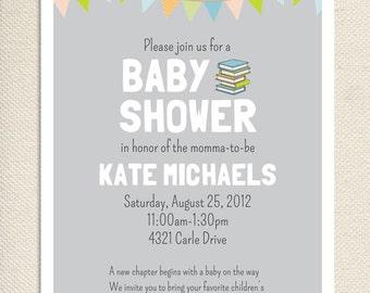 Baby Book Shower Printable Invitation - Gray