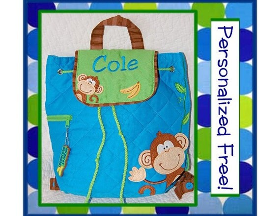 Personalized Toddler MONKEY Blue Quilted Backpack- Preschool, Day Care, Book Bag