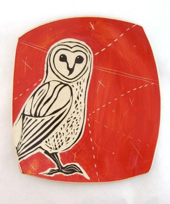 Barn Owl on Brilliant Red Platter