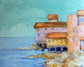 Impressionist Plein Air Landscape California PACIFIC OCEAN TOWN Lynne French Oil Art 8x10 Original Painting