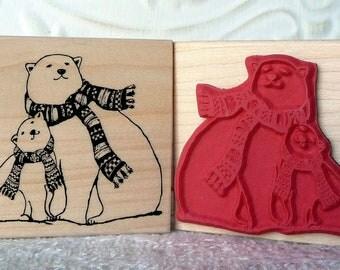 Polar Bears bonding rubber stamp from oldislandstamps