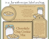 Make your own Chocolate Chip Cookie Mix in a Jar - Label, Tag and Recipe - Digital Printable - Great Gift Idea - Immediate Download - SuzieQsCrafts