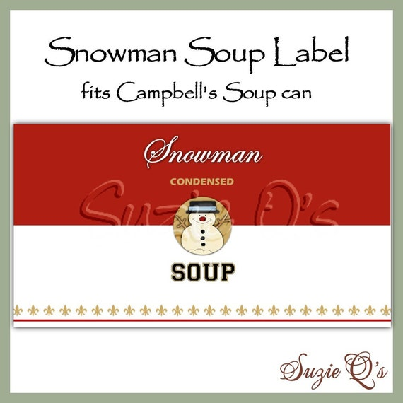 Snowman Soup Can Label - Digital Printable - Good Craft Show Seller ...