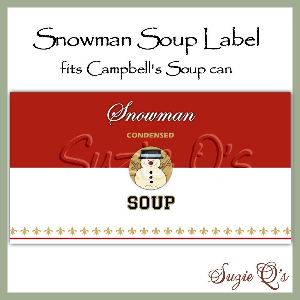 This is a graphic of Breathtaking Free Printable Snowman Soup Labels