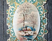 Victorian greeting card, lovely colors and winter scene, victorian ephemera, victorian card, edwardian card, collectible card, antique card
