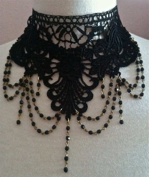 Downton Abbey Lady Mary Edwardian Vintage Black Lace Choker