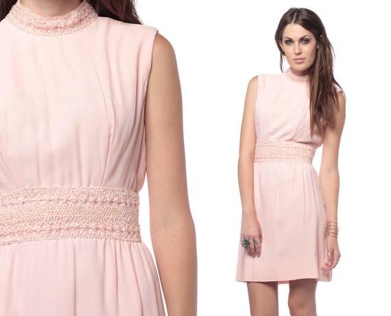 60s Party Dress Beaded Mod Pink 1960s Cocktail Dress Empire Waist Vintage Mini Go Go Sixties Babydoll Sleeveless Dress Medium M