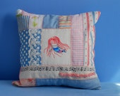 Embroidery Mermaid Patchwork Pink and Blue - Throw Pillow Cover