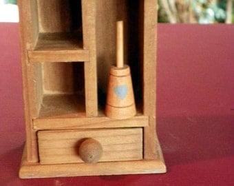 Vintage Miniature Wooden  Hand Painted Hearts butter Churn.. Dollhouse Furniture