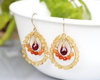 Ruby Citrine and Carnelian Gold Filled Chandelier Earrings - wire wrapped - PHOENIX FLAME - Genuine Ruby drop briolette - hoop rondelle