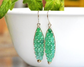 Green Onyx Leaf Sterling Silver Earrings - Wire Wrapped - Hand Forged - Hammered - Faceted Rondelles - Summer