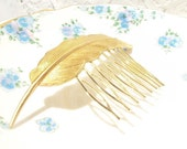 Golden Feather Hair Comb - Woodland Collection - Whimsical - Nature - Bridal