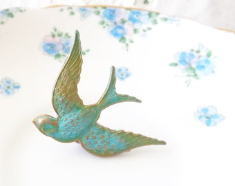 Verdigris Sparrow Hair Clip - Bird - Swallow Alligator Hair  Clip - Whimsy - Whimsical - Woodland Wedding- Bridal Hair Accessory