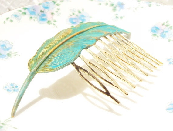 Gold Verdigris Feather Hair Comb - Woodland Collection - Whimsical - Nature - Bridal - Patina