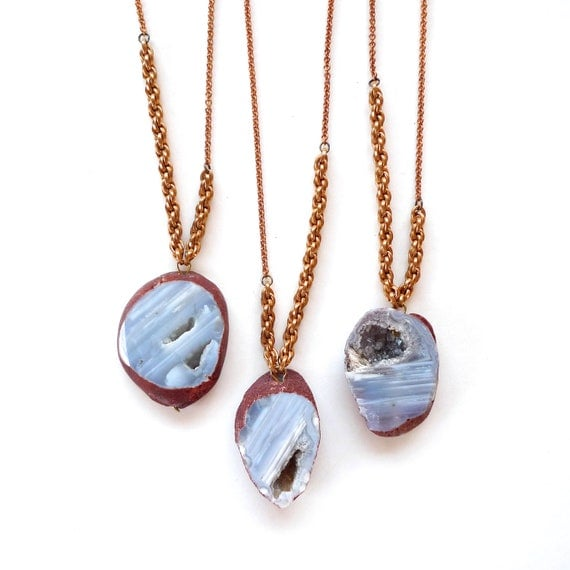 gray botswana agate stone and asymmetrical rope chains