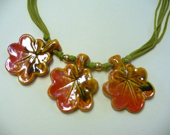 Vintage Ceramic Leaf Necklace DEADSTOCK