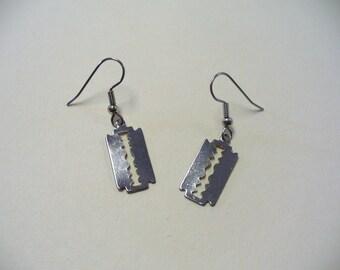 Vintage Silver-tone Razor Blade Earrings DEADSTOCK