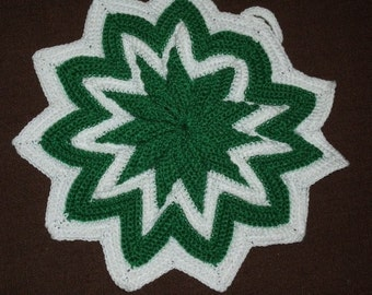 Hand Crocheted, Green and White Potholder, New Condition, Cotton