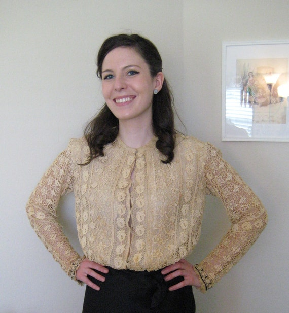 ON SALE AUTHENTIC Vintage Victorian Lace Blouse Jacket Antique Cream SteamPunk Edwardian