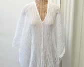 Swim Cover Up Knee Length Caftan White Beach Spa One Size Cotton Maternity