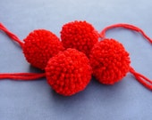 Handmade Red Yarn Pom Poms for Headbands Beanies Hats Shoes Clothing Lot of 4 Extra Large