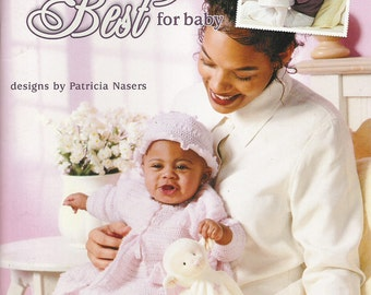 Leisure Arts Baby Layette Outfit Sets Sweater Coat Bonnet Slippers  & Booties Crochet Pattern Leaflet 3616