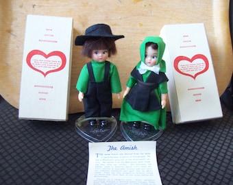 Vintage old new in box pair  Mennonite Amish  dolls.