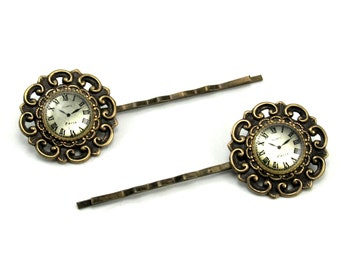 SALE 50% OFF Steampunk Gothic Lolita Hair Pins - Paris and Back Again - with Miniature Clock Buttons in Antiqued Brass